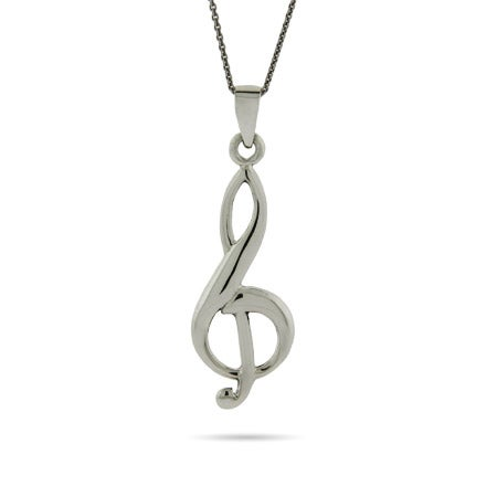 Sterling Silver Musical G Clef Pendant
