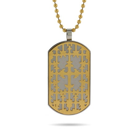 Engravable Renaissance Style Golden Cross Dog Tag