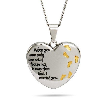 engravable heart footprints in the sand necklace