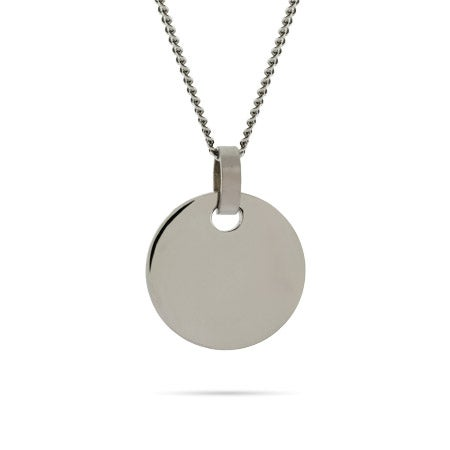 Engravable Small Stainless Steel Round Tag on Curb Chain