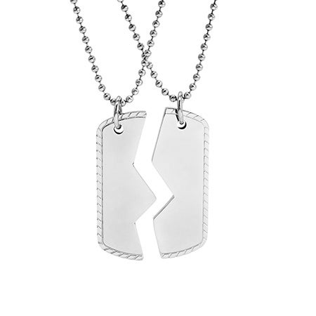 Engravable Friendship Dog Tag Necklaces | Eve's Addiction