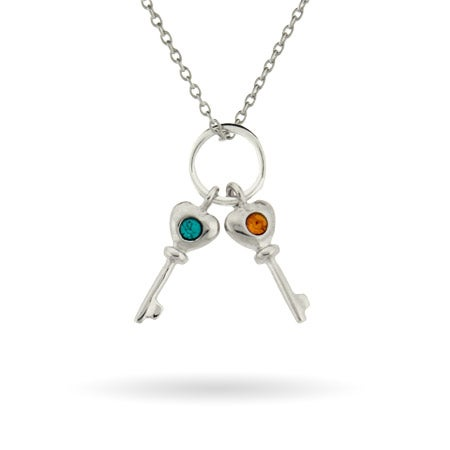Key Charm Mother's Necklace with Two Custom Birthstones | Eve's Addiction®