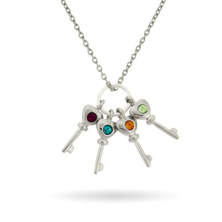 Sterling Silver Custom 4 Birthstone Key Charm Necklace