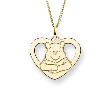 Gold Plated Winnie The Pooh Heart Necklace