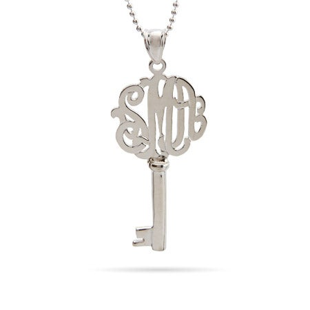 Victorian Style Sterling Monogram Key Necklace