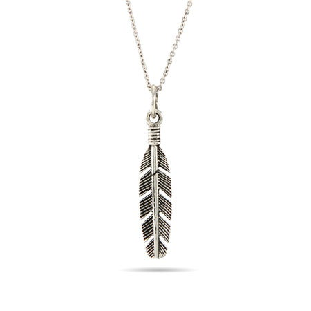 Petite Sterling Silver Feather Pendant