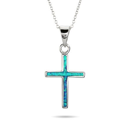 Sterling Silver Opal Inlay Cross Pendant
