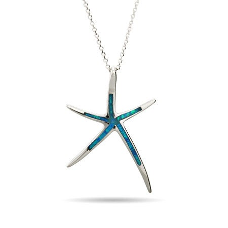 Opal Inlay Starfish Sterling Silver Pendant | Eve's Addiction®