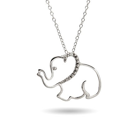 Sterling Silver Stencil Elephant Pendant