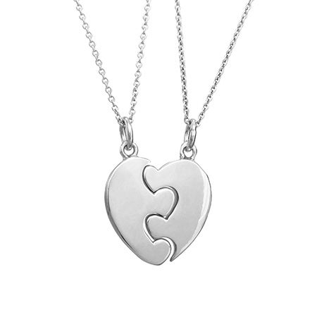 Engravable Best Friends Split Puzzle Heart Necklace