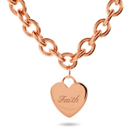 Tiffany Style Rose Gold Heart Tag Necklace