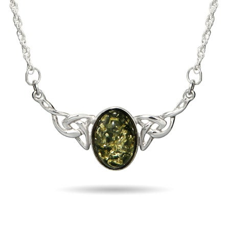 Genuine Green Baltic Amber Celtic Knot Necklace