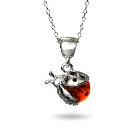 Genuine Baltic Honey Amber Ladybug Pendant | Eve's Addiction®