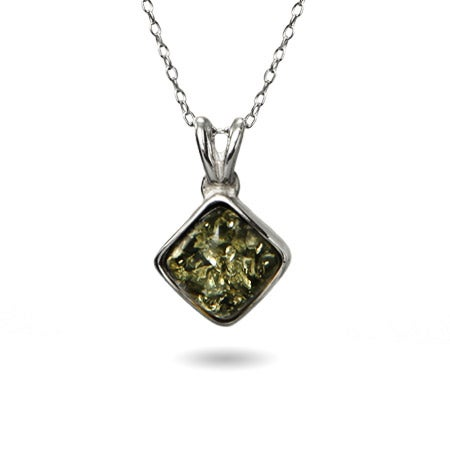Green Baltic Amber Cushion Cut Silver Necklace