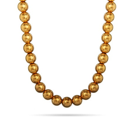 8mm 14K Gold Plated Bead Necklace | Eve's Addiction®