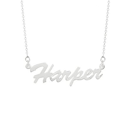 Thin Script Sterling Silver Name Necklace | Eve's Addiction