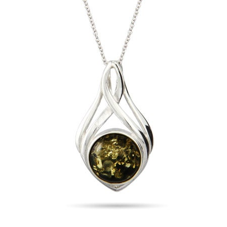 Sterling Silver Knotted Round Cut Green Amber Pendant