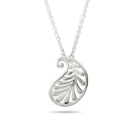 Designer Style Silver Wave Palm Pendant