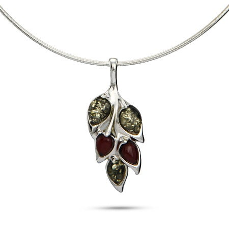 Green and Cherry Amber Leaf Charm Necklace
