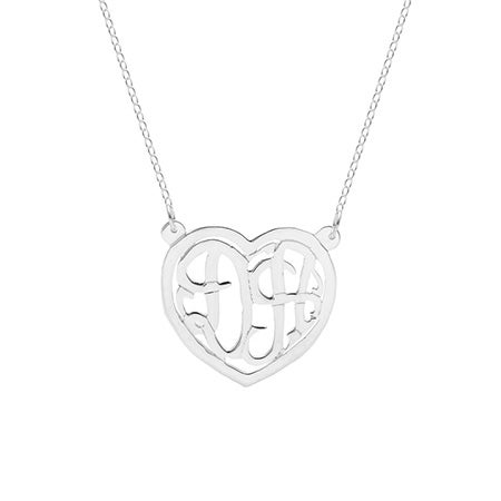 Custom Silver Two Initial Monogram Couple's Heart Necklace