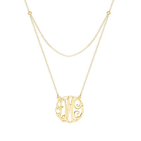 Custom Gold Plated Double Strand Monogram Necklace