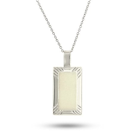 Engravable Sterling Silver Rectangle Framed Charm Necklace