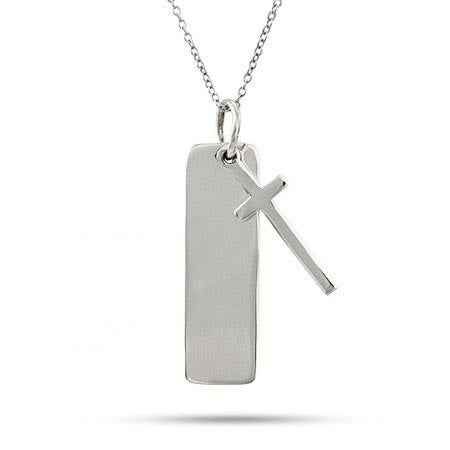 Engravable Sterling Silver Tag Pendant with Cross | Eve's Addiction®