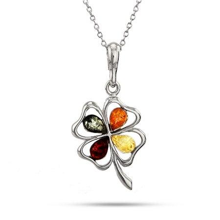 Silver Multicolor Clover Genuine Baltic Amber Pendant