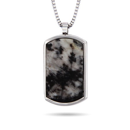 Engravable Marbled Agate Stone Dog Tag