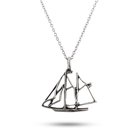 Sterling Silver Schooner Boat Pendant