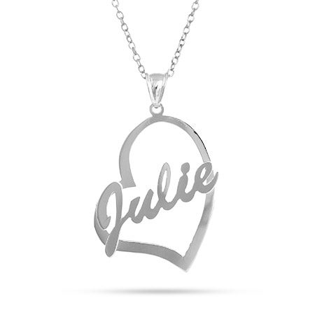 Personalized Name Heart Necklace in Sterling Silver
