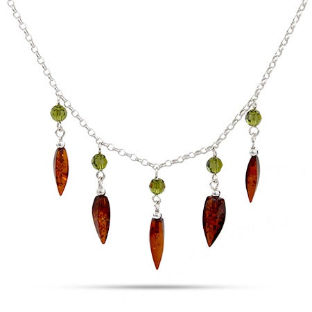 Honey Amber and Green Swarovski Crystals Necklace