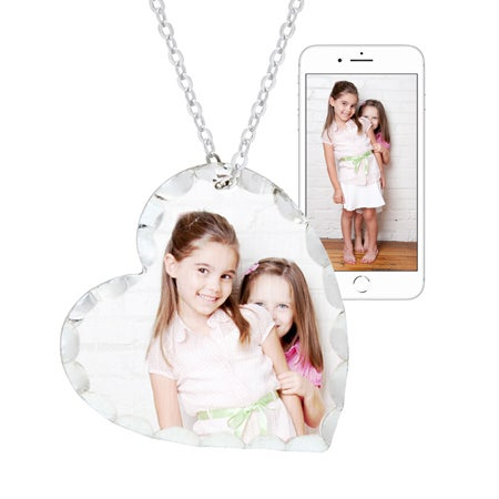 Sterling Silver Heart Cut Out Color Photo Pendant