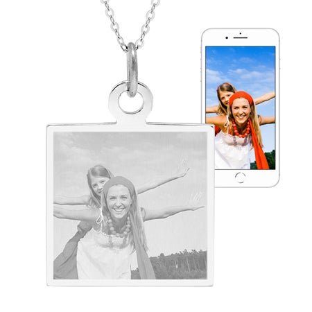 Custom Photo Sterling Silver Square Tag Pendant | Eve's Addiction®