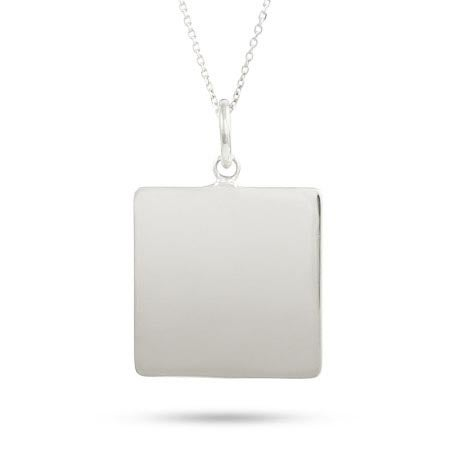 Sterling Silver Engravable Square Tag Pendant