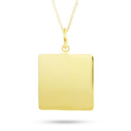 Engraved Square Gold Plated Charm Necklace