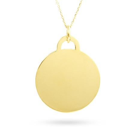 Engraved Gold Vermeil Round Tag Necklace