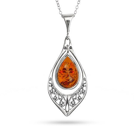 Genuine Baltic Amber Marquise Silver Necklace