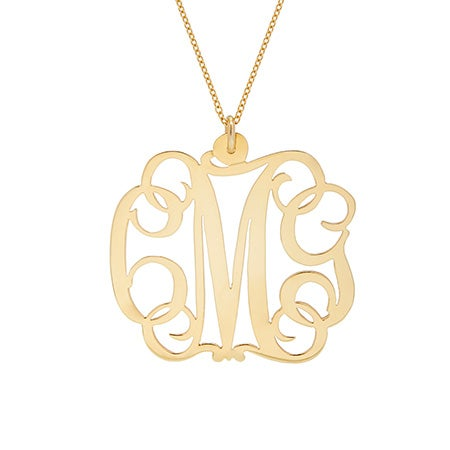 Fancy Script Gold Vermeil Monogram Necklace | Eve's Addiction