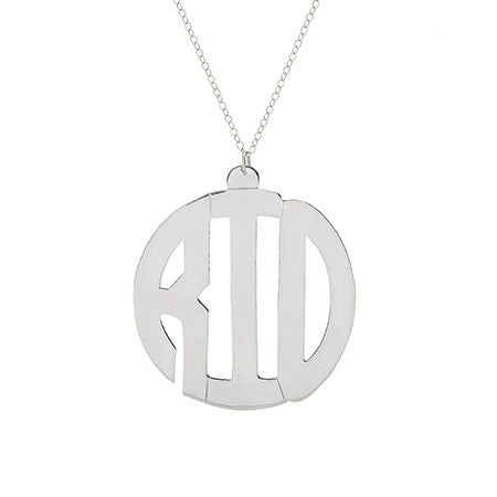 Sterling Silver Block Style Monogram Necklace | Eve's Addiction