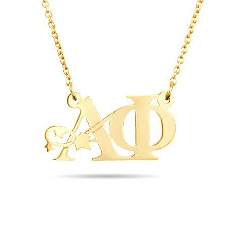 Alpha Phi Gold Vermeil Ivy Letter Necklace