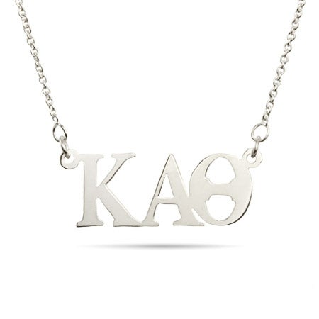 Kappa Alpha Theta Silver Letter Necklace