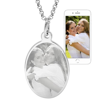 Stainless Steel Oval Tag Photo Pendant | Eve's Addiction®