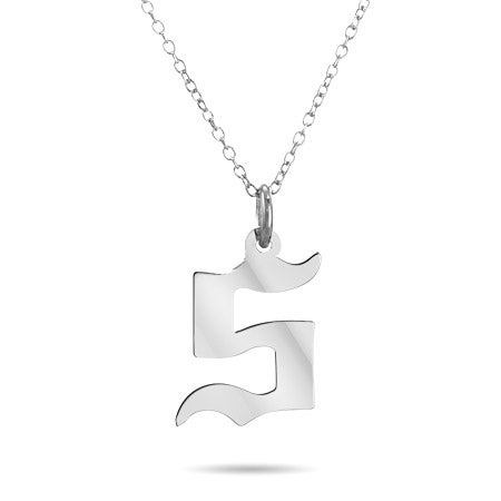 Sterling Silver Gothic Initial Pendant
