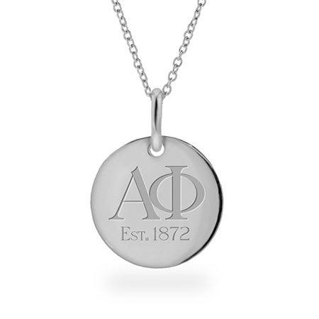 Alpha Phi Est 1872 Silver Round Charm Pendant