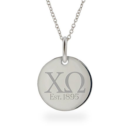 Chi Omega Est 1895 Sterling Silver Round Tag Necklace