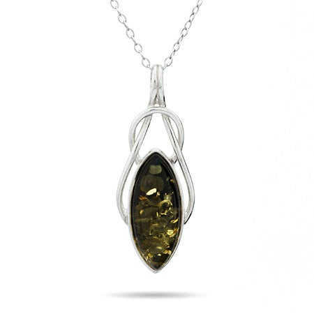 Celtic Marquise Cut Green Baltic Amber Sterling Silver Pendant