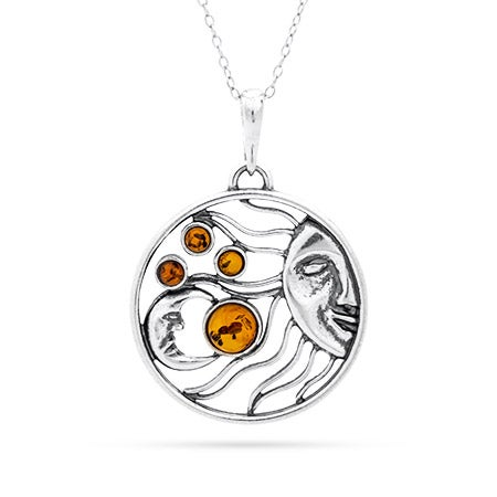 Sun and Moon Baltic Amber Sterling Silver Necklace