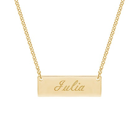 Engraved Gold Plated Name Bar Necklace | Eve's Addiction