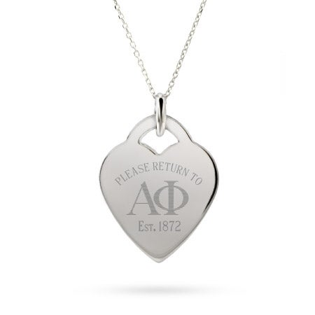 Return to Alpha Phi Sterling Silver Heart Necklace
